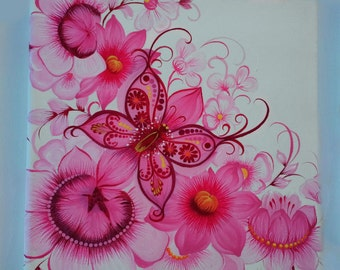 Painting canvas 1. Small painting. Paintings on canvas of the blocks. Pink Butterfly on Flowers. Hand Painted.