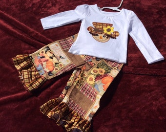 Scarecrow girl ruffle pant outfit