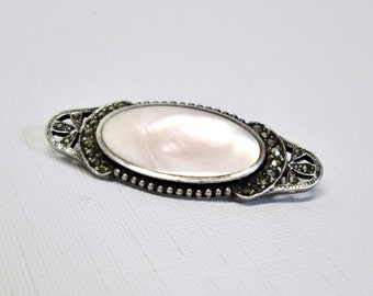 Sterling Silver Pearl Brooch w/ Marcasites - Victorian Revival .925