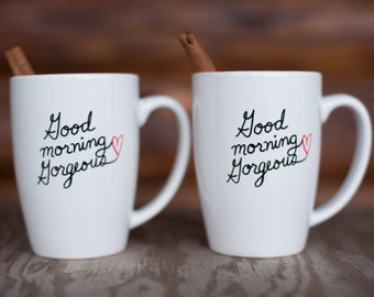 "Hers & Hers Coffee Mug Set ""Good Morning Gorgeous"