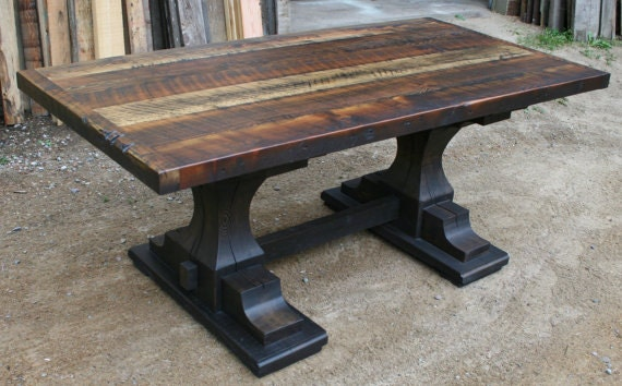 Reclaimed pedestal trestle dining table for Pedestal trestle dining table plans
