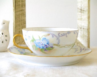 Victorian Hand Painted Tea Cup and Saucer