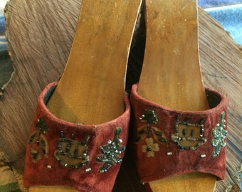 Vintage carved wood and beaded velvet Asian  shoes