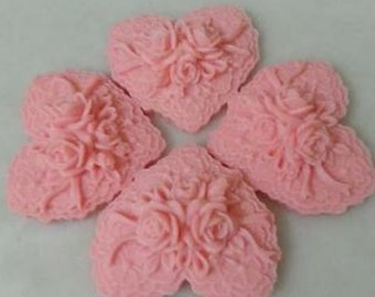 Rose Heart Soap, Decorative Soap,Wedding Soap,5 Pieces.