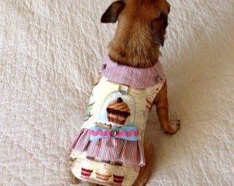 Small Dog Dress, Dog Dress,  Dog Clothes, Cupcake Print with Striped Ruffle, Optional D-ring, Custom Order to Fit Toy and Teacup Sizes