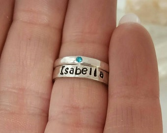 2 Stacking Rings, Hammered Sterling Silver Name Ring, Birthstone ring, Stackable Name Rings, Personalized Name Ring, Mothers ring, Name Ring