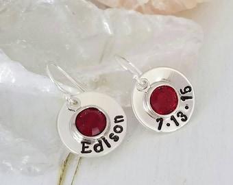 Birthstone Earrings, Sterling silver earrings, Swarovksi crystals, Childrens Birthstone earrings, Custom  Morher Earrings, Crystal dangle