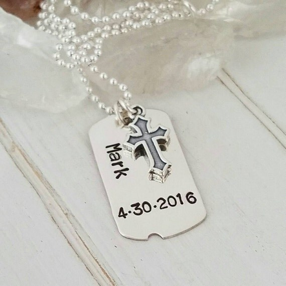 Personalized Dog tag necklace, Boy, Child, Teen, Son, Custom Made, Solid Sterling Silver, Hand Stamped, Cross Charm, 2mm Ball Chain Necklace