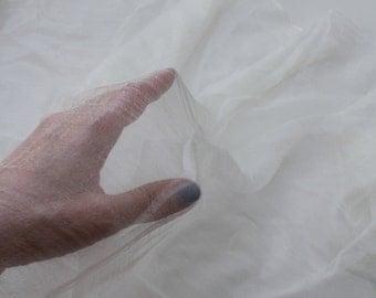 Uzbek hadmade silk Margilan silk ponge,  Scarf silk , silk gaz, natural white silk , 100 % natural silk 10 yards