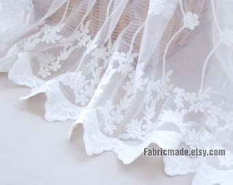 White Embroidery Lace Fabric, White Floral Vine Netting Tulle Fabric Scalloped Edges Borders Fabric- 1/2 Yard Copy
