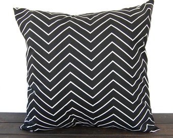 Pillow, Throw Pillow, Pillow Cover, Cushion, Decorative Pillow, Black and White Chevron modern contemporary home decor