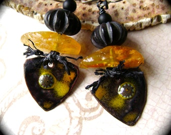 The Humble Bee, assemblage earrings, mixed media jewelry, torch fired enamel, amber bead, boho chic, yellow, nature inspired, AnvilArtifacts