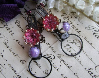 Bohemian Romance, assemblage earrings, mixed media jewelry, boho chic, rustic earrings, lampwork flowers, soldered jewelry, anvil artifacts
