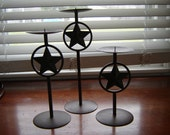 Vintage metal rusted  western candleholders 3 pc set star candleholders pillar candleholders party decor home decor