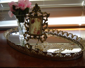 Vintage mirror tray metal gold oval filigree tray wedding table centerpiece vanity jewelry perfume tray 18x10 inches