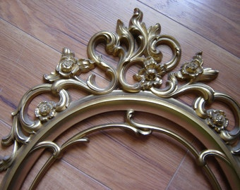 Vintage ornate gold frame photo prop wedding decor home decor wall decor open frames large syroco French Country decor