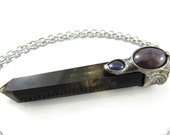 the magician - smoky citrine crystal pendant with amethyst & iolite
