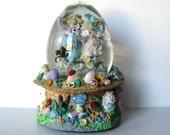 "Vintage Bunny Music Box Snow Globe, Peter Rabbit, ""Easter Parade"", Nursery Decor, Easter,  gift idea"