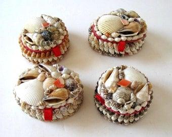 SALE, Set of 4 vintage sea shell boxes, jewelry storage, trinket box, Beach Cottage decor, nautical jewelry boxes, gift idea