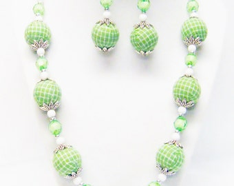 Large Round Lime Green Plaid Fabric Bead Necklace & Earrings