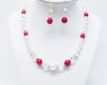 White Glass Pearl w/Coral Beads & Rondelle Crystal Rhinestone Necklace/Bracelet/Earrings Set