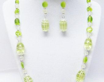 Chunky Oval Lime Green Swirl Glass Bead Necklace/Bracelet/Earrings