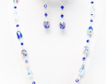 Assorted Flowery Glass Bead Necklace/Earrings Set