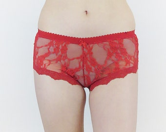 Sheer lace panties in red lace - Valentine's gift - France knickers