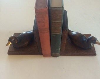 wood duck bookends vintage