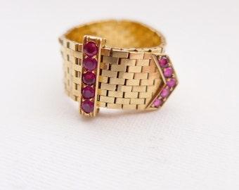 Vintage Retro Art Deco Slinky 14k Gold Flexible Belt / Buckle Ring .40 Rubies UK Size U to O USA Size 10 - 7