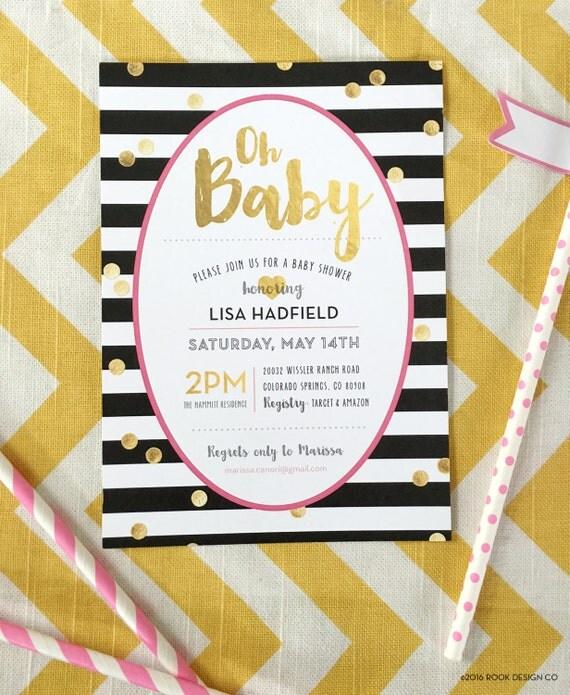 gold foil baby shower kate spade baby shower modern invite kit