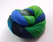 Yarn - Hand painted Sock yarn Merino - Sock Yarn Fingering -   blue, turquoise, green, black, gray - knitting shawl - hand dyed yarn - OOAK