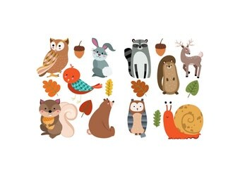Set of 10 Iron On Heat Transfers...Woodland Forest  Animal  Appliques Babies or Kids