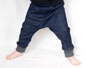 Toddler boy harem pants, organic denim pants, autumn fashion, blue jeans, organic kids pants, boy denim trousers, grow with me pants