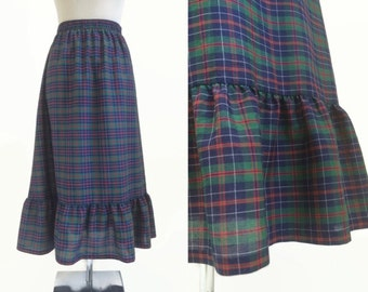 Tartan Skirt - 70's Prairie Skirt - Navy And Blue - Vintage Skirt - Plaid Check Skirt