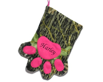Pink Camo Personalized Pet Stocking - Camouflage Name Stocking