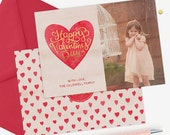 Valentine's Day Card Template, Valentine's Day Card for Photoshop, Holiday Card Templates, Photography Templates VD116