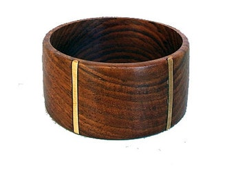 Wide Wood Bracelet with Brass - Cool Elegance