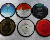 Vinyl Record Album LP Coasters set of 6 mixed artists