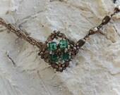 Emerald Green Stone Necklace / Bohemian Choker Necklace / Repurposed Vintage Jewelry / Choker Necklace / Gypsy Choker / Indie Choker / Gold