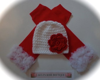 Crochet baby hat white newborn 0-3 3-6 9 12 month infant girl with red flower with red leg warmers photo prop Christmas Valentines Day