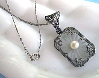 Edwardian Camphor Glass Filigree Lavalier, Petite Silver Vintage Pendant, Cultured Pearl, 14k White Gold Chain