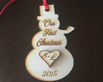 Snowman Holiday Ornaments,  Custom, 1 Laser Engraved Ornament