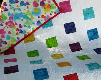 Quilt - Baby Quilt - Baby Girl Quilt - Watercolor Hearts Baby Quilt