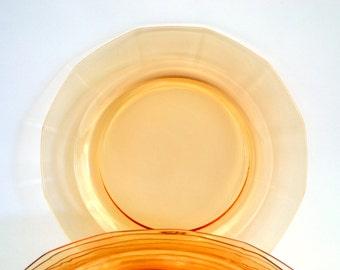 8 Peach Depression Glass Salad Dessert Plates - Set of 8