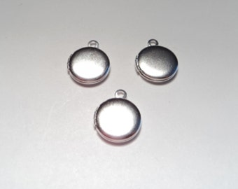 3 pcs - Silver matte plated 10mm round Lockets - m234ms