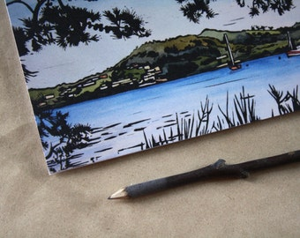 Blank Greeting Card,  Landscape Linocut Single Card with Envelope