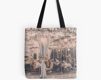 Paris Carousel Print Bag - Paris bag - Merry-go-round bag