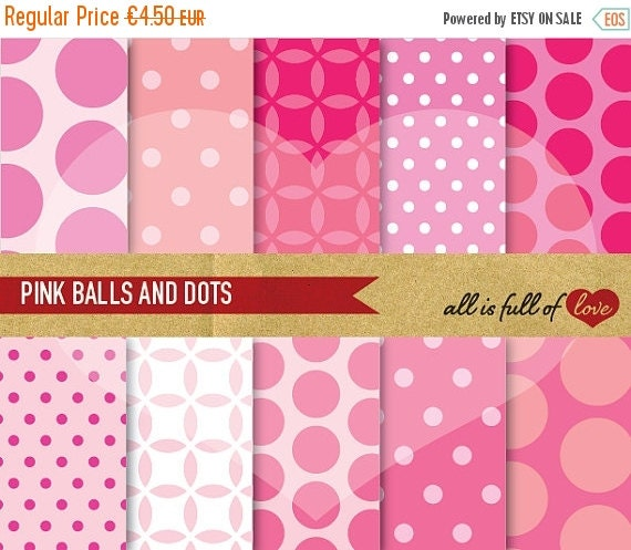 80% OFF Scrapbooking Digital Paper Pack PINK Balls and Polka Dots Backgrounds Printable with Instant Download Valentines Digital Paper