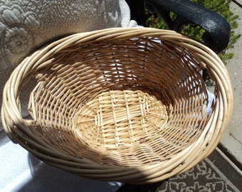 Small wicker basket/ two handles/ natural wicker/ child size/ clothes basket for dolls/ toy